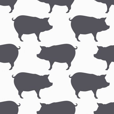 Pig silhouette seamless pattern. Pork meat background