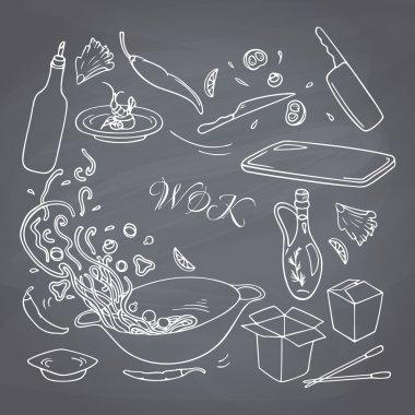 wok restaurant elements for your design.