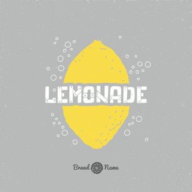 lemon silhouette with lemonade lettering.