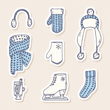 Set of winter stickers. Hand drawn knitted accessories. Cute clip art