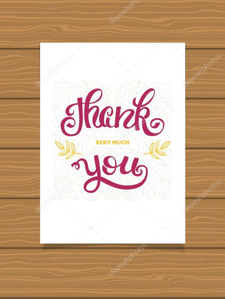 Danke. Hand-Schriftzug Zeichen für eine Karte. Vorlage Danksagung ...