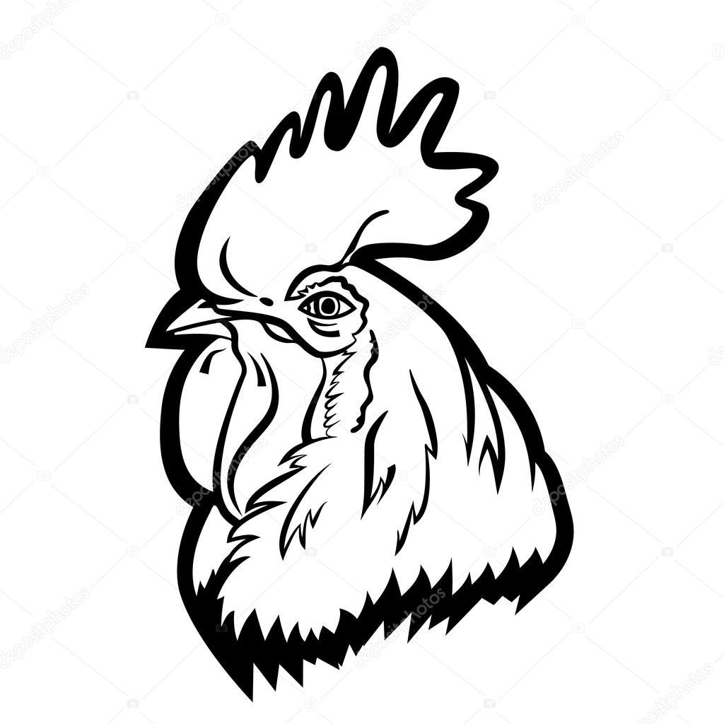 Mascota de la insignia del gallo. Aislados ilustración de ...