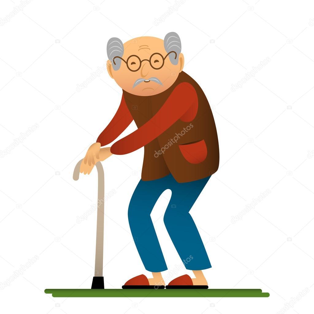 Lustige Illustration Der Alter Mann Mit Stock Zeichentrickfigur