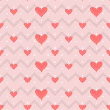 Seamless pattern small dots, gray zigzag hearts on a pink background stock vector
