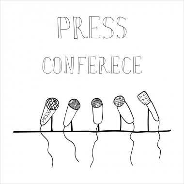 drawing emblem press conference, a number of microphones, press