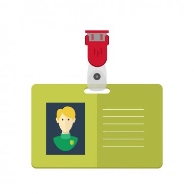dentity card of the person, badge, identification card. flat design.