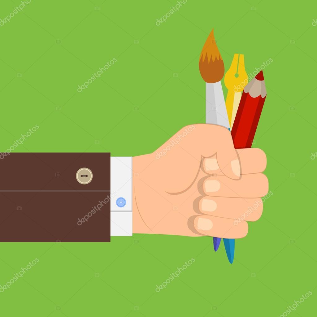 Ilustración de una mano sosteniendo un pincel, lápiz, pluma, diseño ...