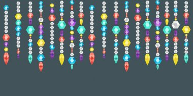 decorative garland from gems, crystals and deamonds, gems on a string