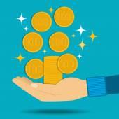 Vektor-Illustration. Goldene-Münzen fallen in die Hand. Passives Einkommen