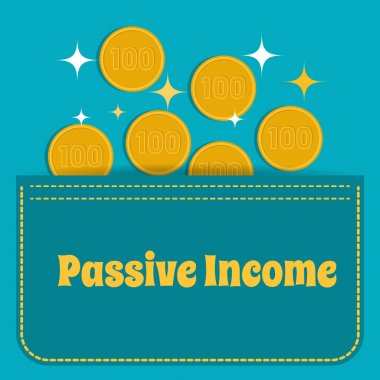 Business concept. Passive income. Gold coins fall into the pocket. Flat design.