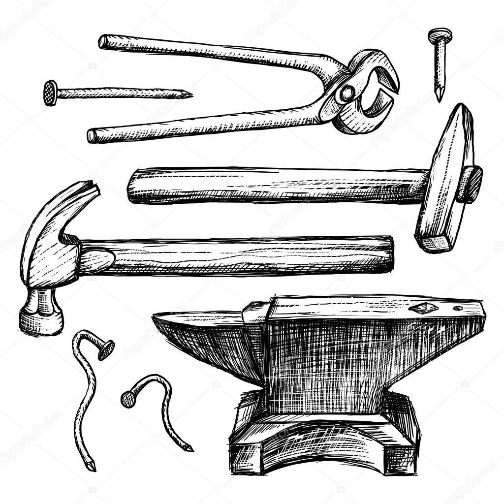 Hand Drawing Tools Anvil Hammer Nails