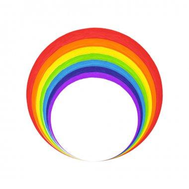 Rainbow circle  logo template. Rainbow emblem symbol. Watercolor