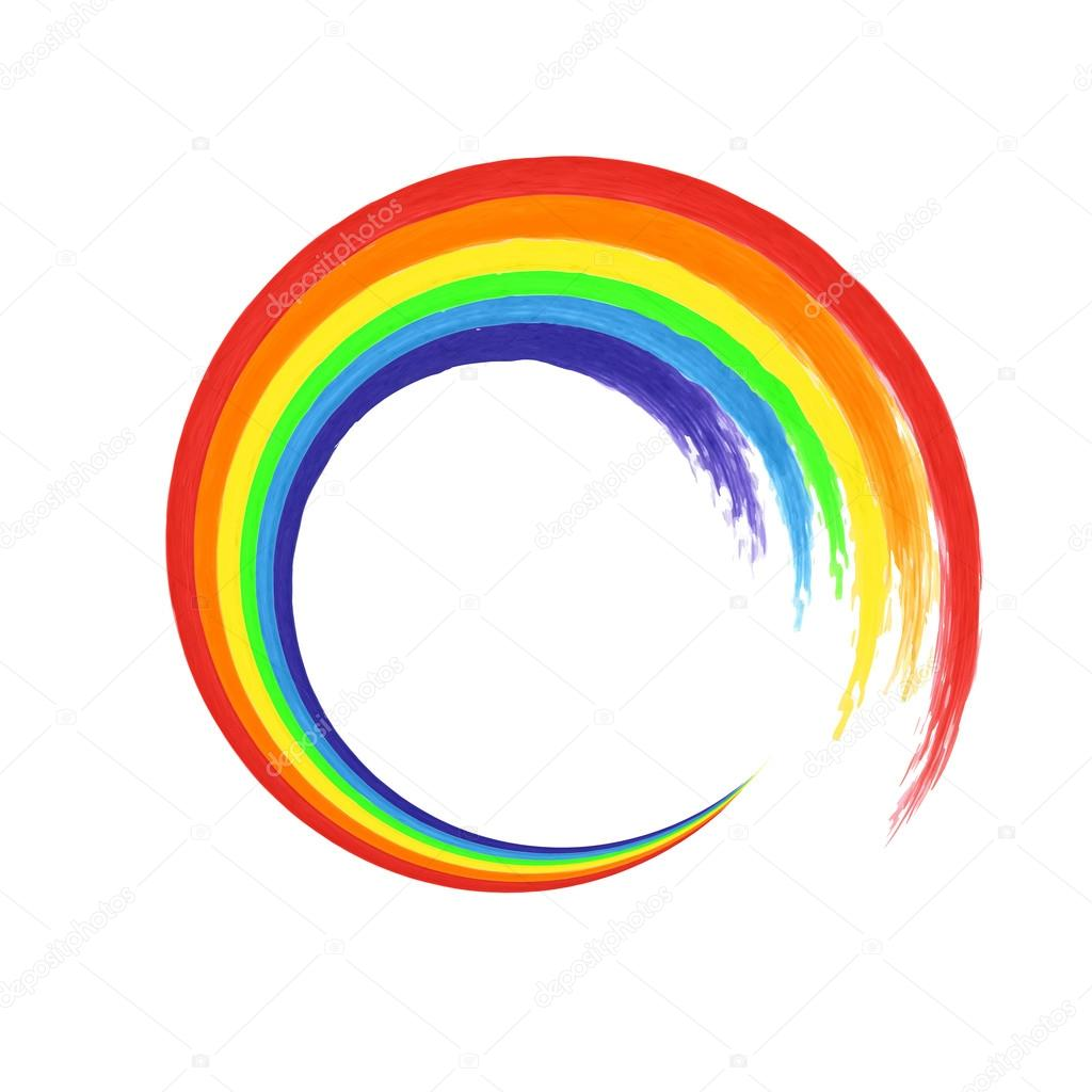 rainbow circle logo template rainbow emblem symbol watercolor