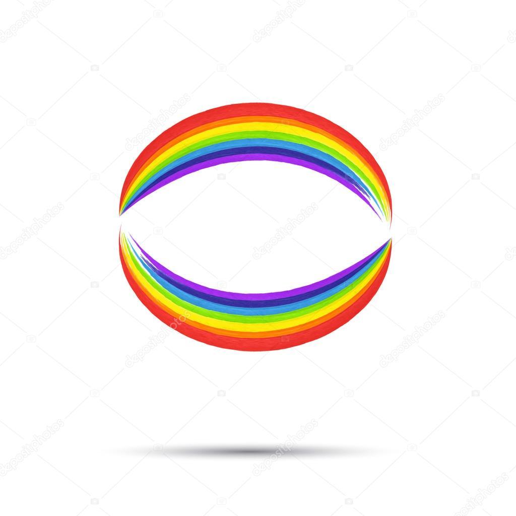 rainbow circle logo template rainbow emblem symbol watercolor