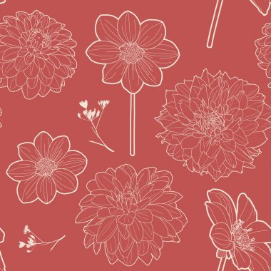 Seamless red vintage floral pattern with aster and daisy