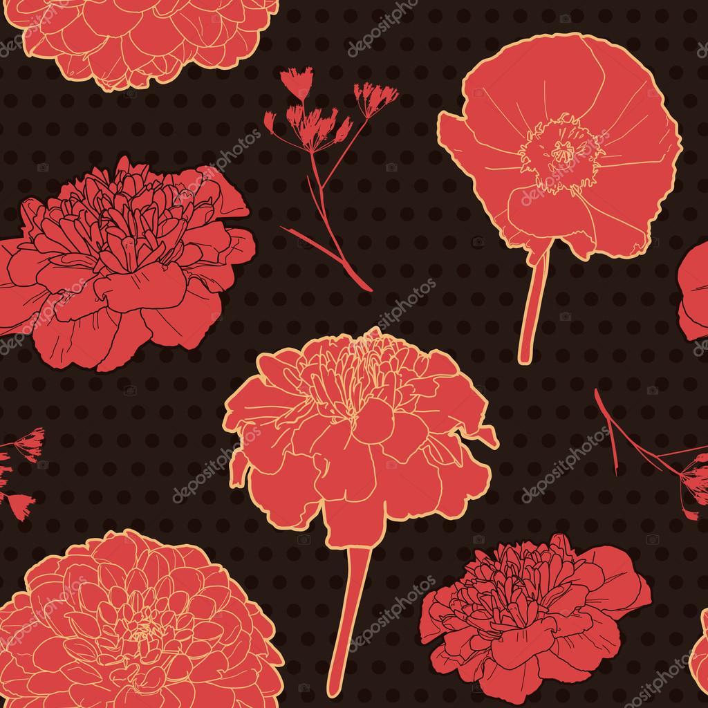 Gorgeous floral vintage black pattern