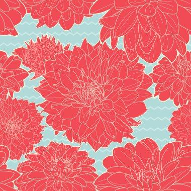 Joyful seamless red-blue aster pattern