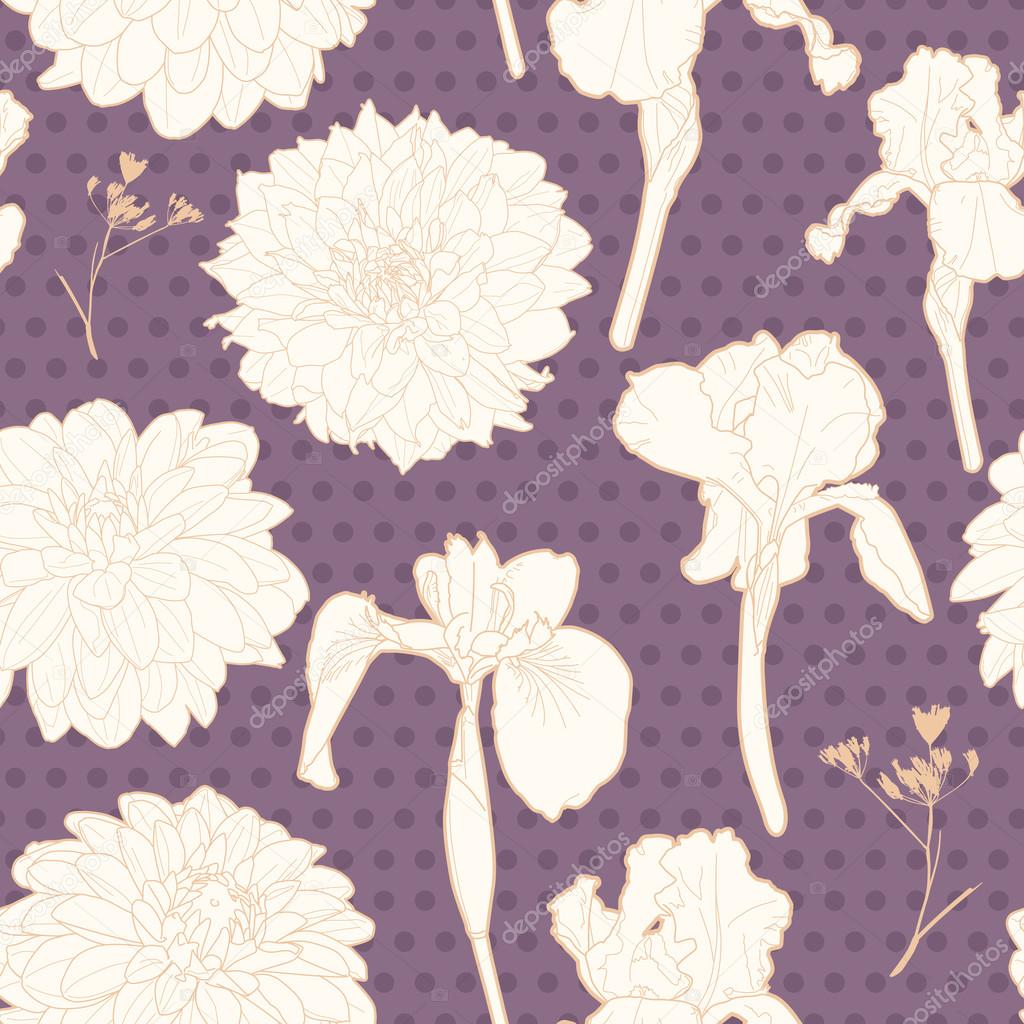 Romantic lavender violet seamless irises-asters floral pattern with dots
