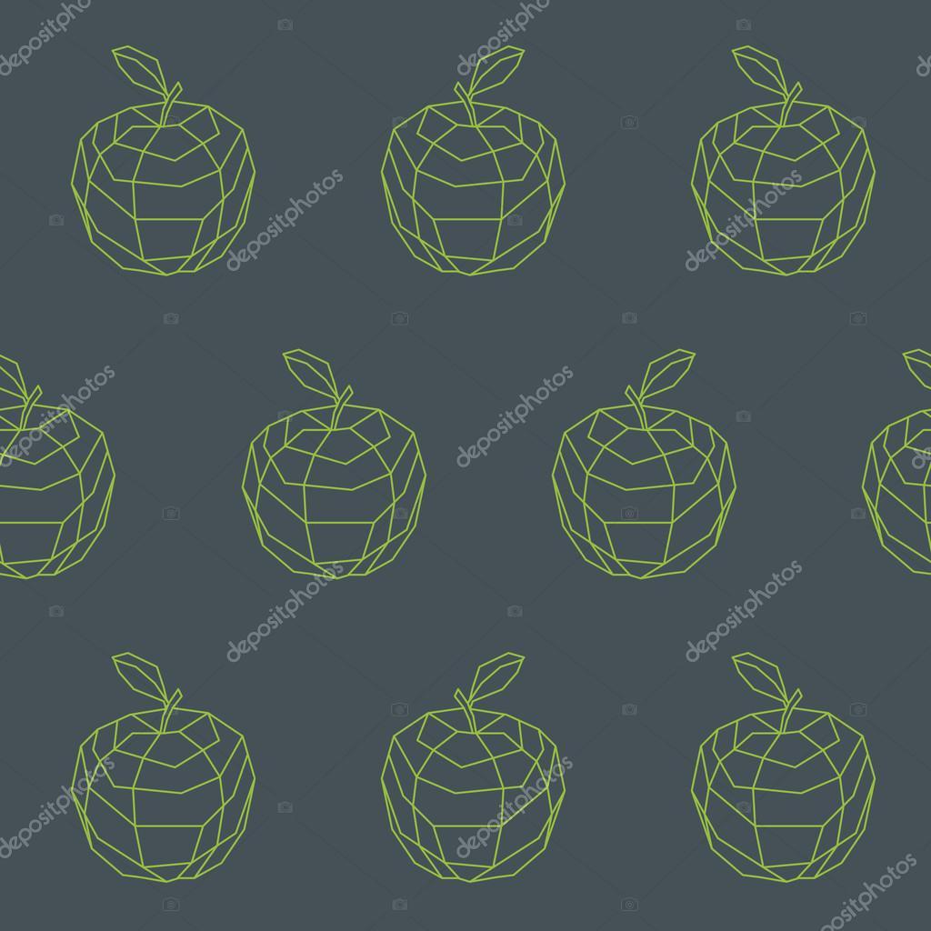 Vintage apple outline polygon pattern