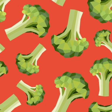 Seamless vintage polygon broccoli pattern