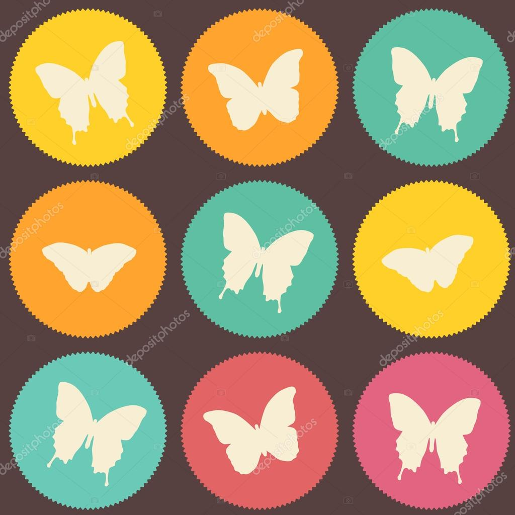 Pop-art seamless vintage butterfly polygon pattern