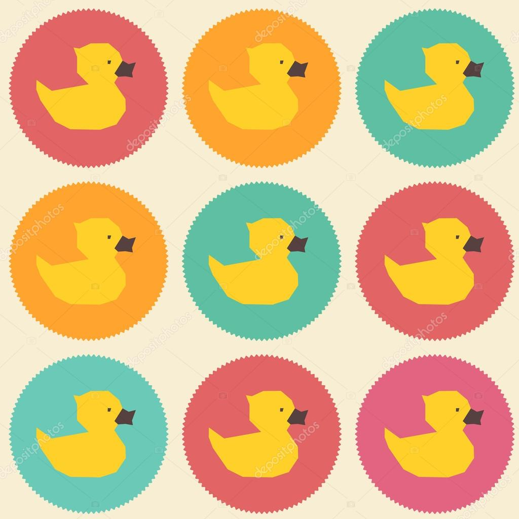 Pop-art seamless vintage yellow ducks polygon pattern