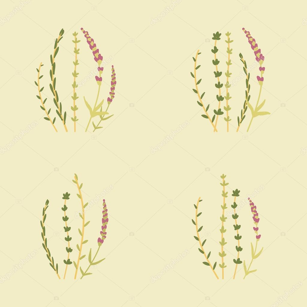 Amazing cute seamless vintage colorful floral herbs pattern
