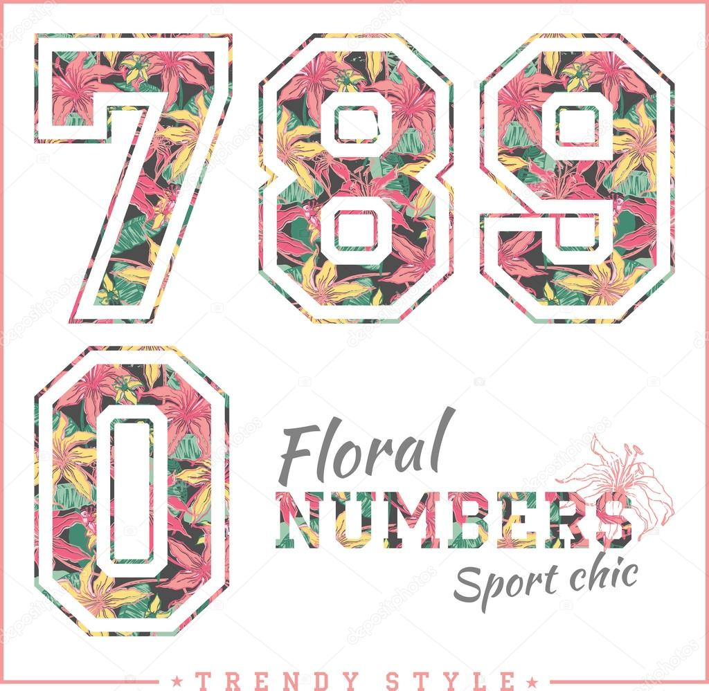 Floral numbers. Sport chic. Trendy style.