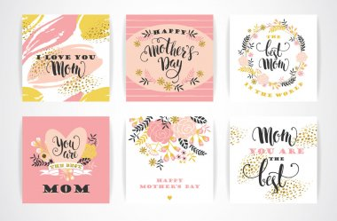 Set of Happy Mothers Day lettering greeting cards with Flowers.