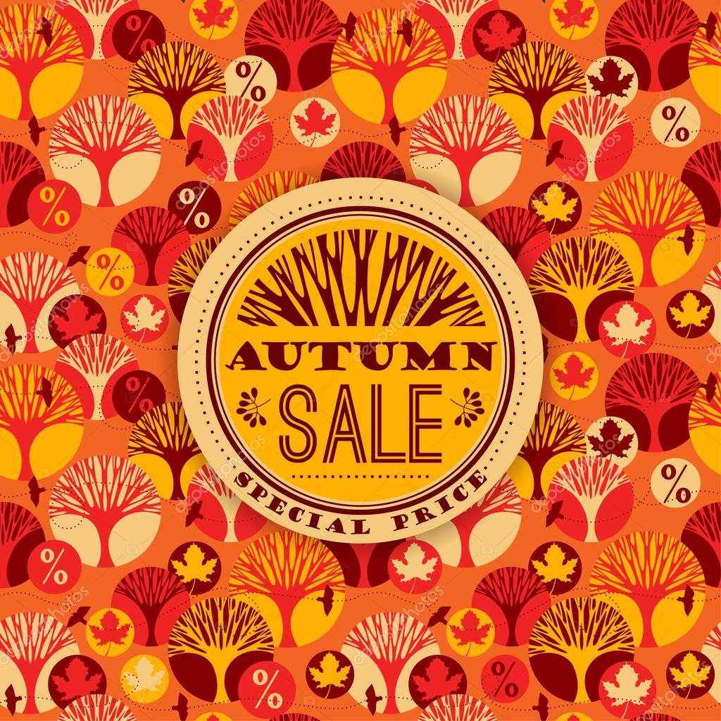 Autumn vector pattern with Sale Typography