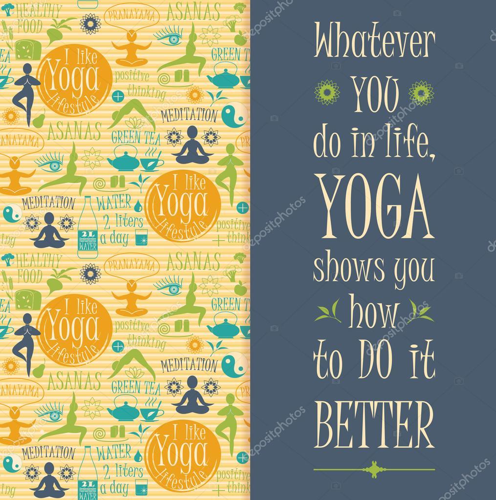 Yoga background with yogic quote.