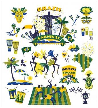 Brazil icons set