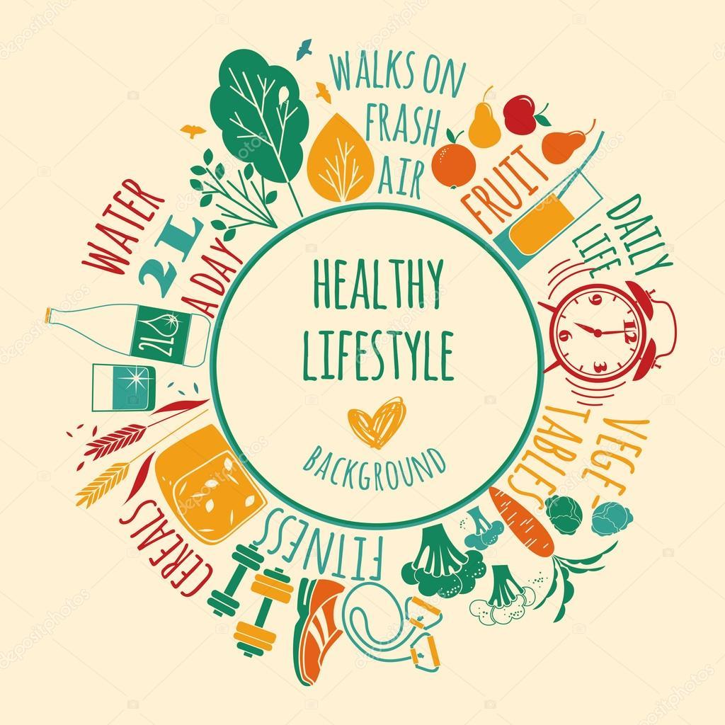 healthy lifestyle background � stock vector 169 nadezda