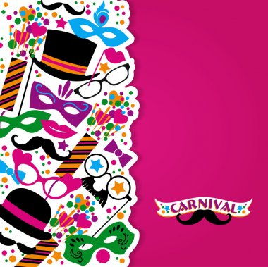 Celebration festive background with carnival icons and objects. Vector illustration stock vector