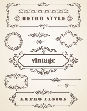 Set of Retro Vintage Frames and Borders.