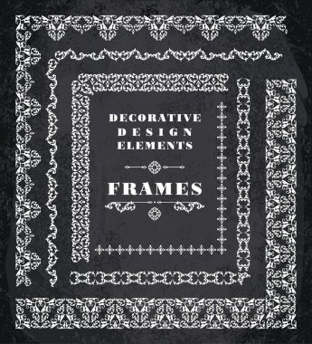 Set of Retro Vintage Frames and Borders.  Chalk Board Background