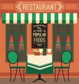 Vektorové ilustrace moderní plochý design restaurace