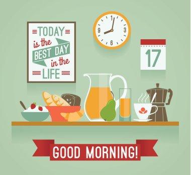 Vector modern flat design illustration of breakfast. Good mornin