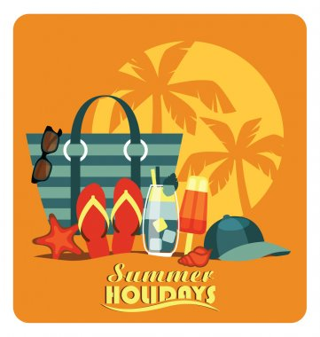 Vector flat  illustration of traditional beach vacation.