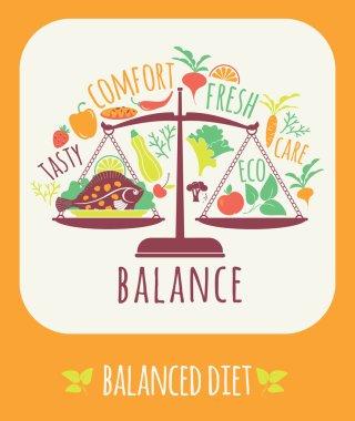Vector illustration of Balanced diet.
