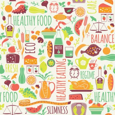Vector seamless pattern with illustration of healthy food. Elemets for design stock vector