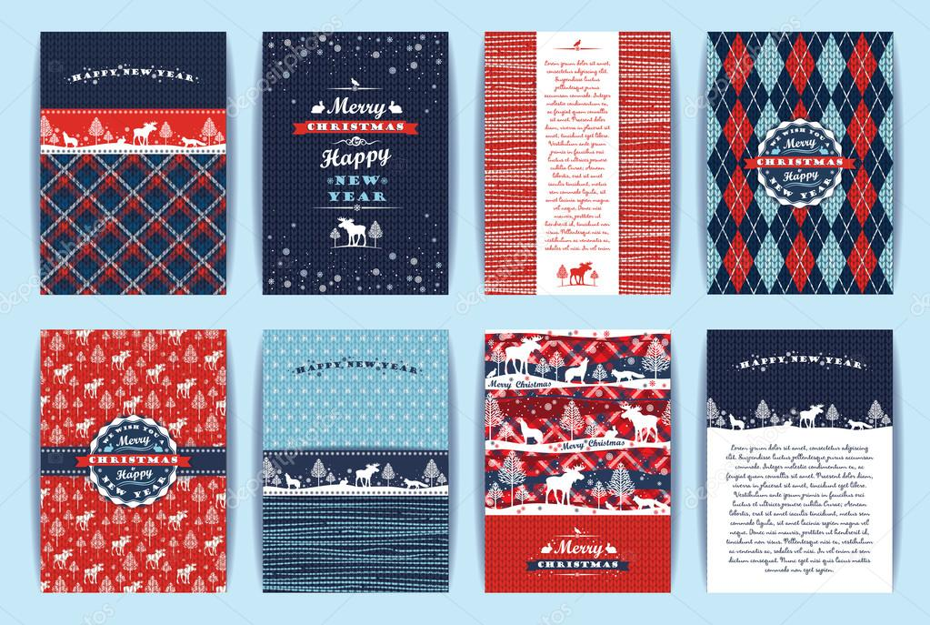 Christmas and New Year Set. Plaid and knitted backgrounds.
