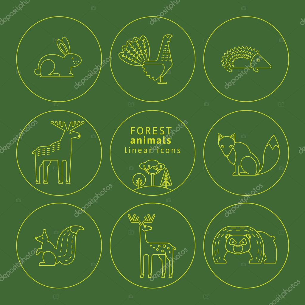 Vector linear icons of forest animals.