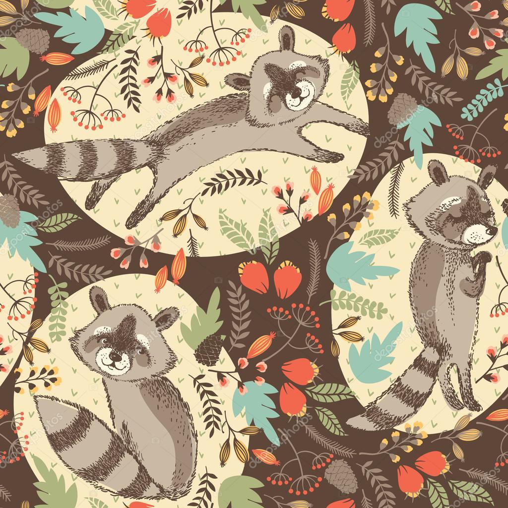 Vector illustration of cute raccoon.