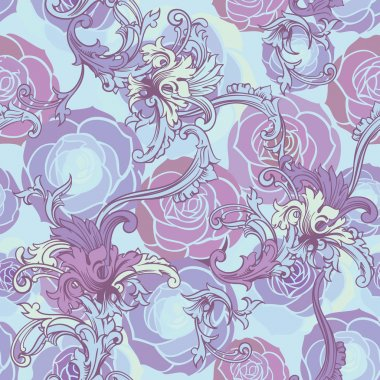 Floral background with baroque ornament.