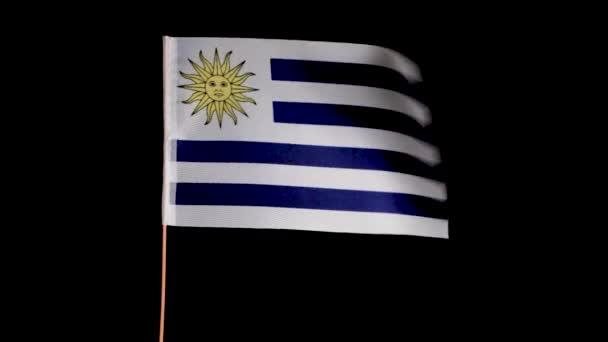 Uruguayská národní vlajka vlaje ve větru, na černém pozadí