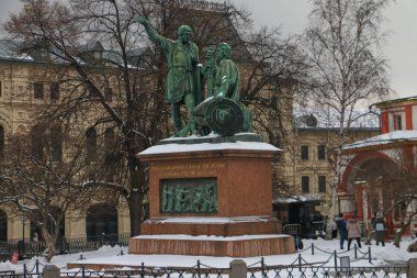 Monument to Minin and Pozharsky on Red Square in Moscow in cloudy weather