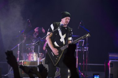 an excited crowd at a rock concert band Gorky Park wildly applauded their idol at a concert in Russia