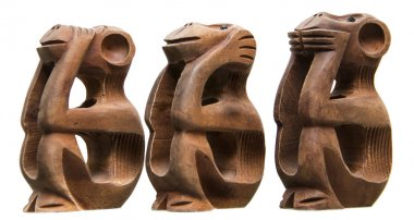 Three Monkeys: not to talk, not to see, not to hear, African, wood, white background