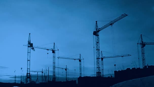 Construction Site At Sunset timelapse silhouette